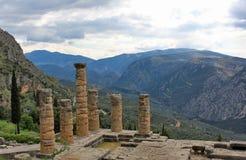 Старые руины на горе в Дэлфи Греции стоковое фото
