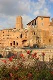 Старые руины на форуме Trajan, Риме, Италии Стоковые Изображения RF