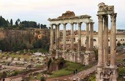 Старые руины римского форума (Романо Foro) в Риме Стоковая Фотография
