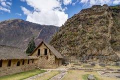 Старые руины Inca в Ollantaytambo Перу стоковые фотографии rf