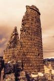 Старые руины Perge Турция на заходе солнца Стоковые Изображения