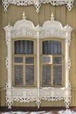 Старые русские окна в Томск Стоковое Фото