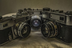 Старые русские сетноые-аналогов камеры фильма с ручным управлением Стоковое Изображение RF