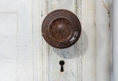Старые ручка и отверстие для ключа двери Стоковое фото RF
