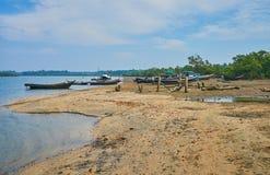 Старые рыбацкие лодки, Kangyi, Chaung Tha, Мьянма Стоковое Изображение