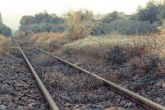 Старые следы поезда используемые с Второй Мировой Войны - малой глубины f стоковое фото rf