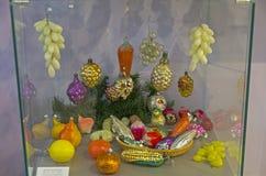 Старые стеклянные игрушки рождества Стоковые Фотографии RF