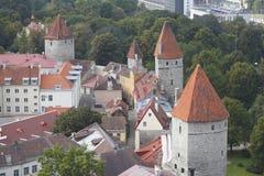 Старые стена городка и башни, Таллин Стоковая Фотография