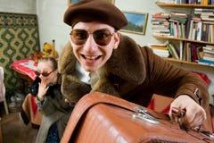 старые стильные путешественники Стоковое фото RF