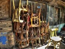 Старые сложенные стулья Стоковое Изображение