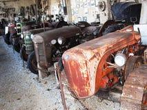 Старые тракторы в аграрном музее стоковое фото rf