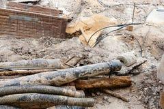 Старые трубы будучи приниманным из поверхности Стоковое Изображение