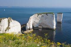 Старые утесы и Bournemouth Гарри Стоковая Фотография RF