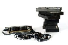 Старые хорошие видео- кассеты Пылевоздушные записи семьи на твердых данных Стоковая Фотография