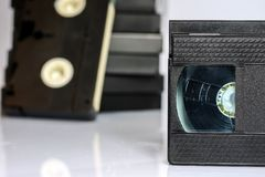 Старые хорошие видео- кассеты Пылевоздушные записи семьи на твердых данных Стоковое фото RF