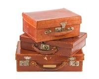 старые чемоданы 3 кучи Стоковое Изображение
