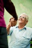 Старые черные и кавказские люди встречая и трястия руки в парке Стоковые Изображения RF