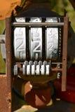 Старые шкалы цены газового насоса Стоковые Фото