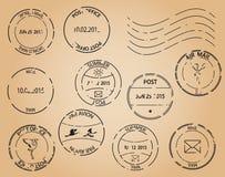 Старые штемпеля почтового сбора - черные элементы Стоковые Изображения RF