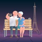 Старые люди путешествуя иллюстрация вектора башни иллюстрация штока