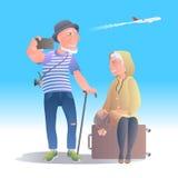 Старые люди путешествуя иллюстрация вектора бесплатная иллюстрация
