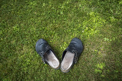Старые clogs на зеленой лужайке Стоковые Изображения RF