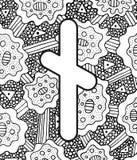 Старые scandinavic nyedis rune с предпосылкой орнамента doodle Страница расцветки для взрослых Психоделическое фантастическое мис бесплатная иллюстрация