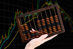 Старый абакус на финансовой предпосылке диаграммы Стоковая Фотография
