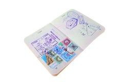 Раскройте австралийский пасспорт с визами Стоковое Фото