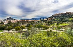 Старый акрополь Афины Греция Парфенона Stoa агоры стоковые фотографии rf