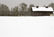 Старый амбар в зиме стоковая фотография