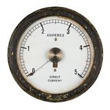 Старый амперметр с центральной осью указателя Стоковое Изображение