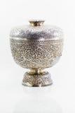 Старый античный серебряный тайский шар на белой предпосылке Стоковая Фотография RF