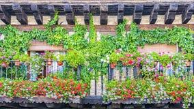 Старый балкон украшенный с цветками Стоковые Изображения RF