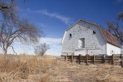 Старый белый амбар на равнинах. Стоковые Фотографии RF