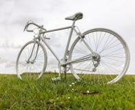 Старый белый велосипед в поле Стоковые Фотографии RF