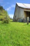 Старый большой сарай с зеленым ландшафтом весны. Стоковые Фотографии RF