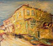 Старый болгарский дом в золотых цветах иллюстрация штока
