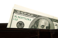 Старый бумажник с банкнотами долларов США внутрь Стоковое Изображение