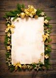 Старый бумажный граничить с украшением рождества Стоковое фото RF