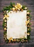 Старый бумажный граничить с украшением рождества Стоковые Фотографии RF