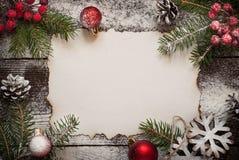 Старый бумажный лист с украшениями рождества Стоковые Фото