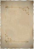 Старый бумажный лист с рамкой сбора винограда Стоковые Фото