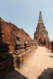 Старый Будда в виске Chaiwatthanaram Стоковая Фотография RF