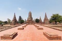 Старый Будда в виске Chaiwatthanaram Стоковое Фото