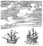 старый вектор кораблей Стоковое Изображение