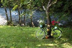 Старый велосипед с цветочными горшками стоковая фотография rf