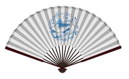 Старый вентилятор традиционного китайския с рыбами Стоковое Изображение RF