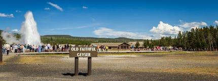 Старый верный гейзер в Йеллоустоне Стоковые Фотографии RF