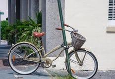 Старый велосипед при корзина зафиксированная к Поляку Стоковая Фотография